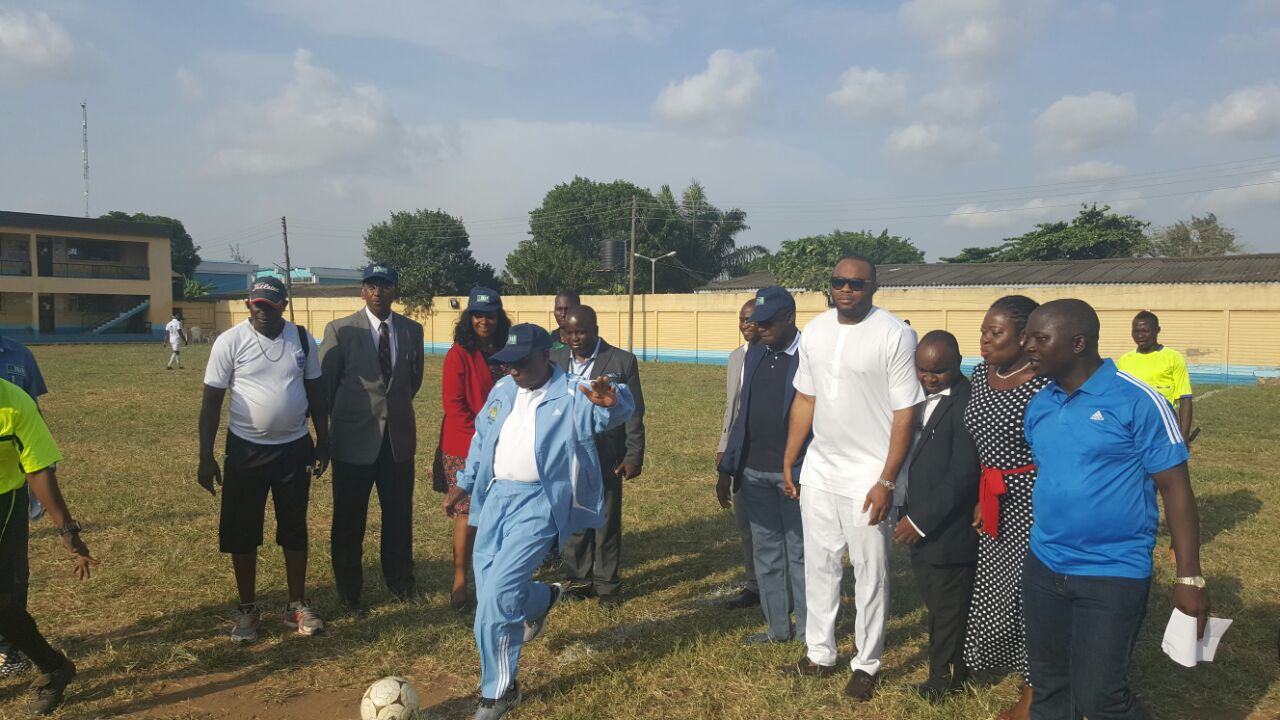Managing Director of Federal Airports Authority of Nigeria (FAAN) Engr. Saleh Dunoma  taking the kick off at the organisation's Inter-Departmental Unity Football Competition at the FAAN School field at the Murtala Muhammed Airport(MMA),Lagos